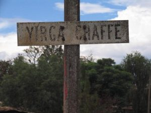 A local sign uses the spelling 'Yirga Chaffe' (Flickr: counterculturecoffee CC BY-NC-ND 2.0)